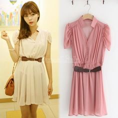 $ 13.22 Dress Chiffon Fashion Casual Sweet Slim Short Sleeve Dress with Belt