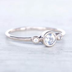 Sparkling White Sapphire Ring in White Gold