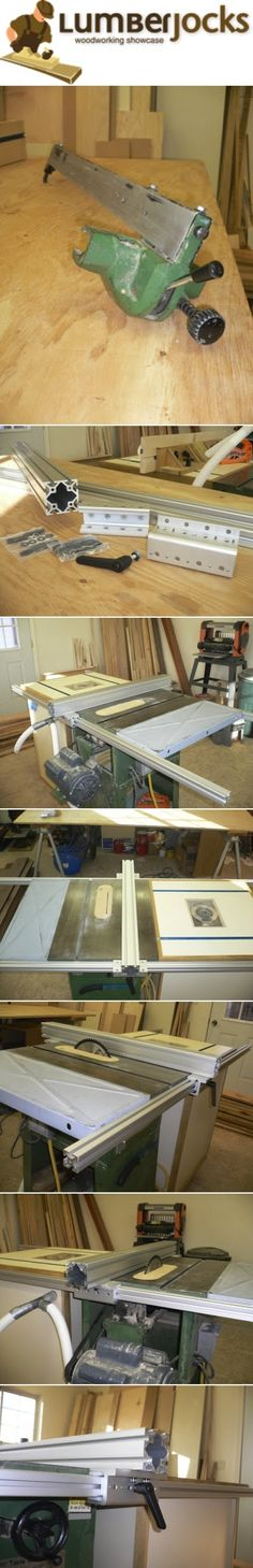 """DIY Table Saw Fence #1: Table Saw Fence two 72"""" rails that are 1 1/2"""" square, one 36"""" fence that is 3"""" square, two linear bearings (slides for the rails), and one L-handle brake. I also ordered the small hardware needed to both connect the rails to the tablesaw and connect the linear bearings to the fence."""