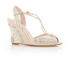 Buy Evelyn Blush Wedge Heel Wedding Sandal | Emmy London
