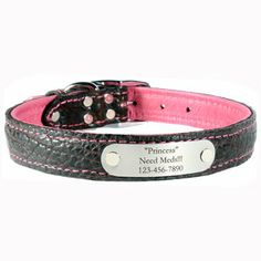 Personalized Bison Leather Dog Collars - Engraved Namplate Collar is made out of super soft Bison Leather on the outside and Elkhide on the inside. 8 Beautiful color options - $49
