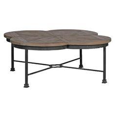 Edwin Rustic Quatrefoil Reclaimed Wood Iron Coffee Table