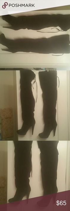 Black Suede Thigh High Over the Knee Boot Like new Suede Tie Back Snake Skin Heel OTK Boot Bakers Shoes Over the Knee Boots