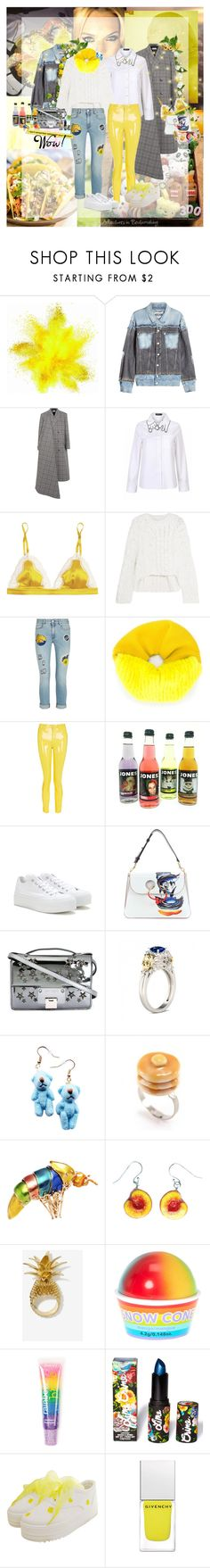 """Yellow Accent"" by lady-redrise ❤ liked on Polyvore featuring ANNIE, Moschino, Balenciaga, STELLA McCARTNEY, Maison Margiela, Yves Salomon, Topshop, Converse, J.W. Anderson and Jimmy Choo"