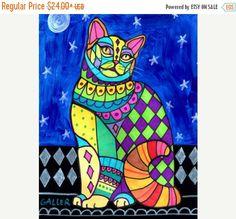 50 % de réduction Storewide - American Wirehair chat Folk art affiche de peinture d'impression par Heather Galler (HG127)
