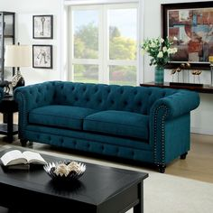 Stanford Dark Teal Sofa- Description : Featuring button tufted cushions with nail head trim borders, this fabric sofa set offers a timeless design bound to fit any living room. Teal Rooms, Teal Living Rooms, Living Room Sofa Design, Living Room Designs, Upscale Furniture, Sofa Furniture, Living Room Furniture, Living Room Decor, Teal Couch