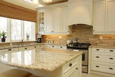 Cream Kitchen Cabinets, Kitchen Cabinet Colors, Kitchen Redo, Kitchen Colors, Kitchen White, Kitchen Island, Tan Kitchen Walls, Kitchen Ideas, Kitchen Makeovers