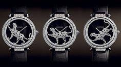 A Cartier, uma das mais icônicas marcas de luxo do planeta, essa peça é em ouro branco, cristais de safiras e pulseira de crocodilo.