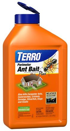 TERRO 2 lb. Perimeter Ant Bait Plus  T2600  Kills ants (except fire ants), cockroaches, crickets, earwigs, silverfish, slugs and snails  Not harmful to beneficial insects (ladybugs and butterflies)  Convenient, easy-to-use 2lb. shaker canister  Long-lasting, weather-resistant granules  Slow kill gives worker ants time to transport bait to the colony