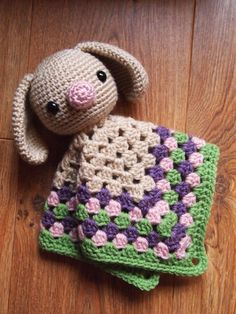 Amigurumi Crochet Bunny Rabbit Security Blanket Lovey  by HamAndEggs
