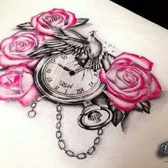 Pink Rose Flowers And Clock Tattoo Design Rose Tattoos, Flower Tattoos, New Tattoos, Body Art Tattoos, Girl Tattoos, Sleeve Tattoos, Tatoos, Dove And Rose Tattoo, Pretty Tattoos