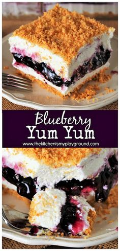 No-Bake Blueberry Yum Yum ~ With two fluffy layers sandwiching a layer of blueberry pie filling, this Southern classic is no-bake deliciousness at its best! Smores Dessert, Potluck Desserts, Köstliche Desserts, Delicious Desserts, Dessert Recipes, Low Fat Desserts, Dessert Healthy, Blueberry Yum Yum, Strawberry Yum Yum Recipe