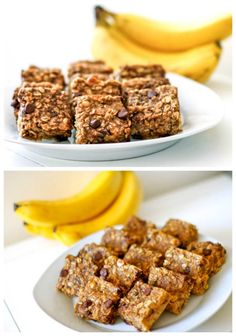 Peanut Butter Banana Chocolate Chip Oatmeal Bars: •2 and 1/2 cups old-fashioned rolled oats •1/4 cup dark brown sugar, loosely packed •1 teaspoon baking powder  •1/2 teaspoon salt  •1 teaspoon ground cinnamon  •1/2 cup almond milk  •1 teaspoon vanilla extract  •1 large egg •2 large very ripe bananas, mashed  •1/3 cup creamy peanut butter  •1/2 cup semi-sweet chocolate chips  •1/2 cup peanut butter chips