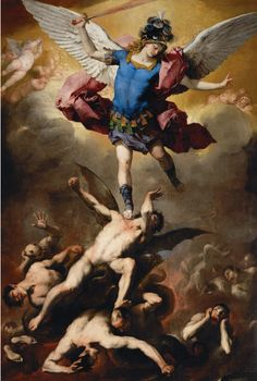 The Fall of the Rebel Angels, 1660/65, Luca Giordano; symbolic details include the archangel Michael's martial attributes: a sword, helmet and breastplate, as well as the huge, feathery white wings of a heavenly angel, which are in marked contrast to the small, leathery, bat-like wings of (presumably) Lucifer, their blackness signifying his damnation. (Kunsthistorisches Museum Vienna)