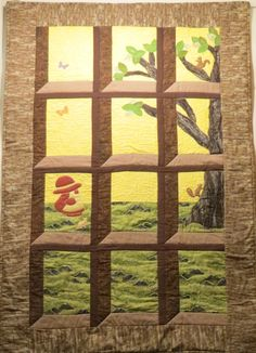 attic+window+quilts+with+a+view | attic window quilt with machine applique by kathryn dragonfly s quilt ...