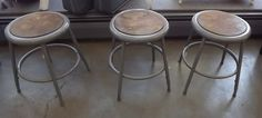FREE SHIPPING 3 workbench stools by UniquelyAttainable on Etsy, $55.00