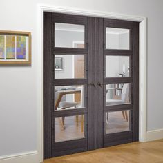 Vancouver Ash Grey Internal Door Pair with Clear Safety Glass - Prefinished - Lifestyle Image. Grey Internal Doors, Grey Doors, Oak Doors, Wooden Doors, Mirrored Bifold Closet Doors, Mirrored Wardrobe Doors, Vancouver, Walnut Doors, Flush Doors