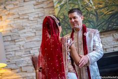 Candid photo of First Look for Indian Bride and American Groom Photo in a Mixed/Fusion Wedding in Westin Morristown, NJ along with Elegant Affairs Volcanik Entertainment, Makeup artist Sanjana Vaswani, Chand Palace - PhotosMadeEz - Best photographers for Photo Journalism/Editorial Wedding Photography. Featured in Maharani Weddings. Best Wedding Photographer PhotosMadeEz Award winning Photographer Mou Mukherjee. Gujarati Wedding.