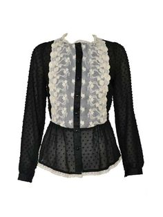 Hot Sale Patchwork Lace Long Sleeve Blouse Black
