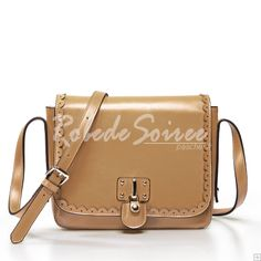 Sac Besace Femme-Le sac en cuir abricot dentelle Messenger