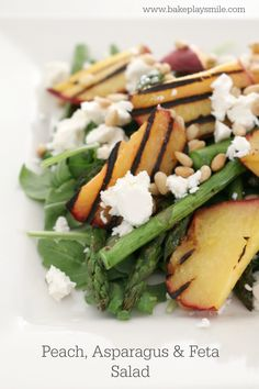A light & fresh summer Peach, Asparagus & Feta Salad that's bursting with flavour! Try it for yourself and see just how deliciously healthy it is! Asparagus On The Bbq, Asparagus Salad, Australian Food, Feta Salad, Vegetable Side Dishes, Summer Salads, Salad Recipes, Healthy Eating, Clean Eating