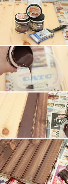 Going to try the faux staining look - super easy and no smelly or sticky stain which is perfect for vinyl!!