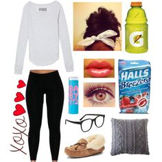 Sick day :( by dyciana on Polyvore featuring polyvore fashion style Victoria's Secret PINK UGG Australia Larke Pom Pom at Home