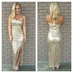 Gold Sequin Maxi Dress