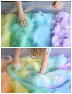 DIY Easy 2 Ingredient Sensory Rainbow Bubbles and Foam Tutorial from Fun at Home with Kids here.