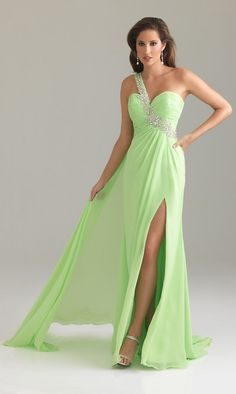 Elegant One Shoulder 2012 Green Prom Dress