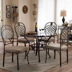 Hera Contemporary Bronze Metallic Finish Metal and Light Brown Fabric Upholstered 5-Piece Dining Set