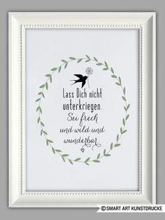 """Originaldruck - """"SEI WUNDERBAR"""" Kunstdruck - ein Designerstück von Smart-Art-Kunstdrucke bei DaWanda"""