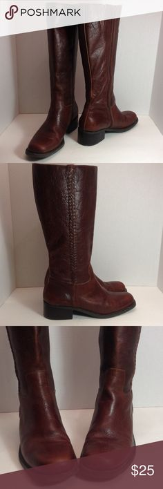 "Nicole brown leather tall boots Zip sides with braided design in good condition, distressed look with 1.5"" heels,  15.5"" tall. Nicole Shoes Heeled Boots"