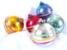5 Vintage Plastic Christmas Ornaments, Large Striped Holiday Ornaments