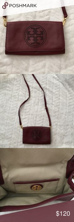 Perforated Tory Burch Burgundy Shoulder bag Reposh...Gorgeous bag in mint condition! Sadly this is just a bit too small for me : (  in perfect condition, can b used as a shoulder bag or straps can b removed & used as a clutch! Tory Burch Bags Shoulder Bags