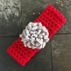Red Headband Gray Silver Sparkle Flower Adult Teen Teacher Co-Worker Gift Crocheted Gray Sports Band  Ear Warmer FREE SHIPPING Ready To Ship