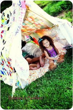 small tent with quilts, children's tent