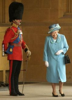 The Queen laughing as she walks past her husband, the Duke of Edinburgh, in his traditional uniform. Relationship Goals