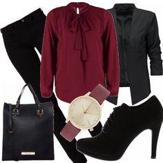 Camicia stilosa nel colore e nel design, con questo fiocco che risalta anche grazie alla giacca nera. Orologio semplice ma dalla linea elegante e che riprende il colore della camicia. shopping bag capiente, ottima per l'ufficio e francesine con tacco alto.