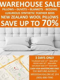 StaminaFibre Canada Bedding Warehouse Sale (Spring 2017) in Mississauga: Huge Discounts on Pillows Duvets New... http://www.lavahotdeals.com/ca/cheap/staminafibre-canada-bedding-warehouse-sale-spring-2017-mississauga/196690?utm_source=pinterest&utm_medium=rss&utm_campaign=at_lavahotdeals