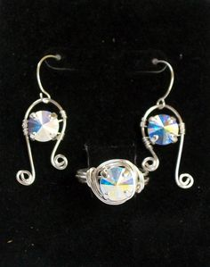 new earring & ring set - 39ss Rivoli Swarovski stones, copper non-tarnish silver plate wire - yes - these too R for sale !!