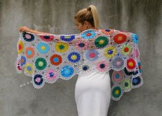 Large, warm and cosy shawl to liven up dreary spring, summer and autumn days. Width: 220 cm = 86.6 in Height: 56 cm = 22 in    Beautiful handmade floral details make this piece special. It accentuates your femininity with floral details made of 50% wool and 50% acrylic  You will be very warm and