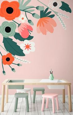 How adorable is this for a playroom! This floral wallpaper design boasts adorable florals that create a relaxing yet joyful vibe in your home. Perfect for play spaces and girl's bedrooms! Bedroom Paint Design, Wall Design, Design Design, Kids Wall Murals, Mural Wall Art, Green Girls Rooms, Girl Rooms, Green Wallpaper, Bedroom Wallpaper