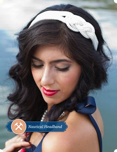 Nautical Headband DIY, it is also cute if you wear it on your forehead!