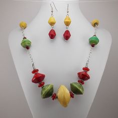 Necklace and Earring Set - Rwandan Paper Beads - Large Red, Green and Yellow