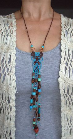 LONG BOHEMIAN / TRIBAL / Boho Macrame Necklace with Wood