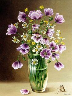 Mor çiçekler Art Floral, Watercolor Flowers, Watercolor Art, Outdoor Fotografie, Illustration Blume, Acrylic Painting Lessons, Paint And Sip, Flower Images, Pictures To Paint