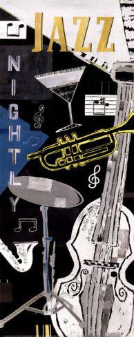 Jazz Nightly Art Print by Pope, Katherine & Elizabeth Katherine Elizabeth, Rhapsody In Blue, Jazz Poster, Jazz Artists, Jazz Club, Frames For Canvas Paintings, Smooth Jazz, Jazz Festival, Jazz Music