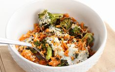 The sweet potato rice in this vegan dish cooks to a perfect consistency in 40 minutes in the oven and the savory flavors from the mozzarella and pesto pair well with the sweetness that comes from the potato when roasting.