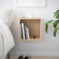 diy Shelves white - EKET Wall-mounted shelving unit - white stained oak effect - IKEA Shelves In Bedroom, Wall Mounted Shelves, Wall Shelving, Ikea Wall Shelves, Living Room Wall Shelves, Bookshelves Ikea, Home Decor Shelves, Cube Shelves, Wall Shelves Design
